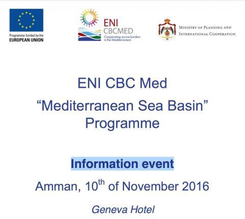 Water-DROP invitaton to ENI CBC MED information meeting in Amman, Jordan